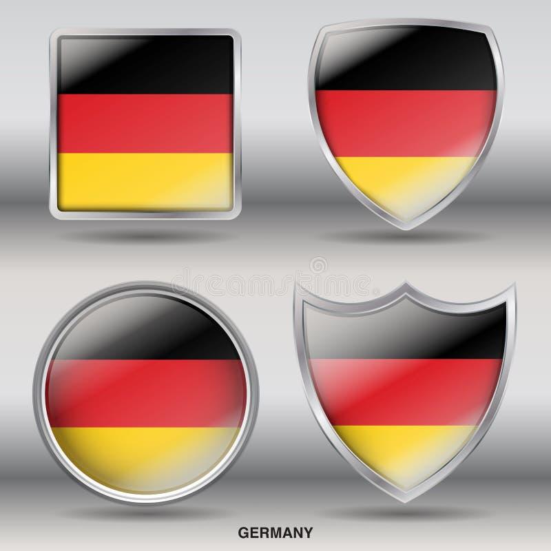 Nationsflagga av Tyskland som är borgerlig i 4 former Colletions vektor illustrationer