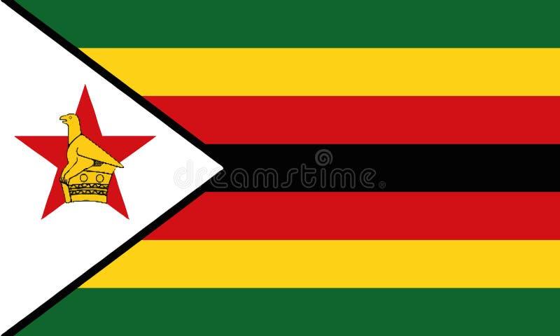 Nationsflagga Zimbabwe royaltyfri illustrationer