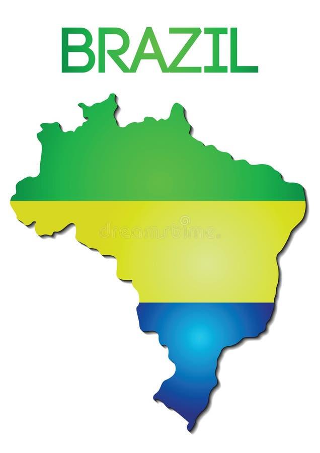Nationsflaggafärg av Brasilien i översiktslutningdesign vektor illustrationer