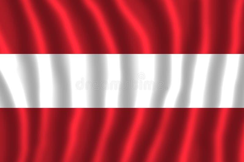 Nationsflaggan av Österrike har tre jämbördiga horisontalmusikband av den röda överkanten, vit och rött royaltyfri illustrationer