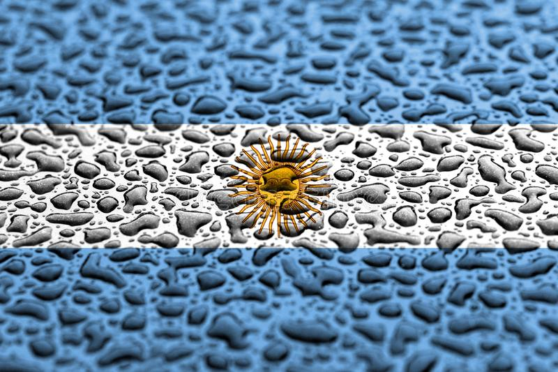 Nationsflaggan av Argentina gjorde av vattendroppar Bakgrundsprognosbegrepp royaltyfri illustrationer