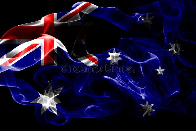 Nationsflaggan av Australien gjorde från isolerad kulör rök på svart bakgrund Abstrakt silkeslen vågbakgrund stock illustrationer