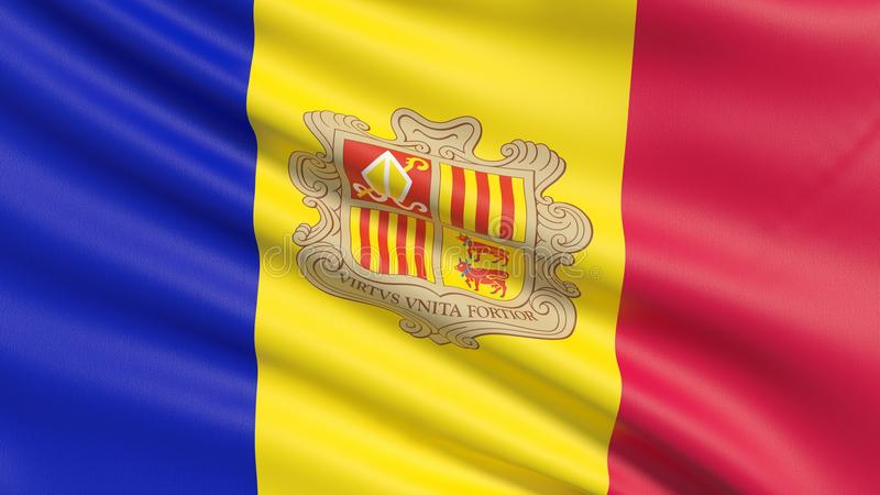 Nationsflaggan av Furstendömet Andorra arkivbilder
