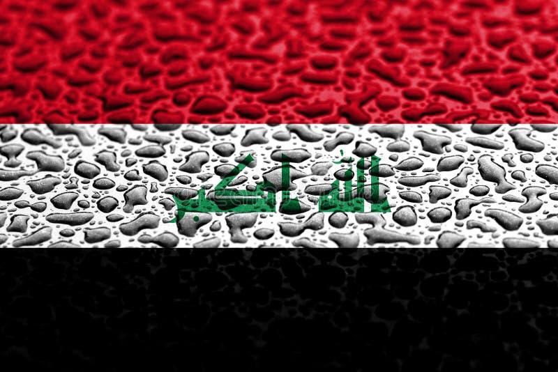 Nationsflaggan av Irak gjorde av vattendroppar Bakgrundsprognosbegrepp royaltyfria foton