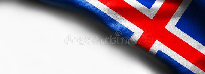 Nationsflaggan av Island isolerade på vit bakgrund arkivbild