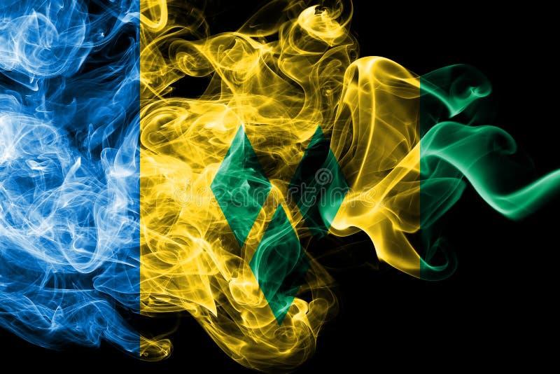 Nationsflaggan av Saint Vincent och Grenadinerna gjorde från isolerad kulör rök på svart bakgrund Abstrakt silkeslen våg stock illustrationer
