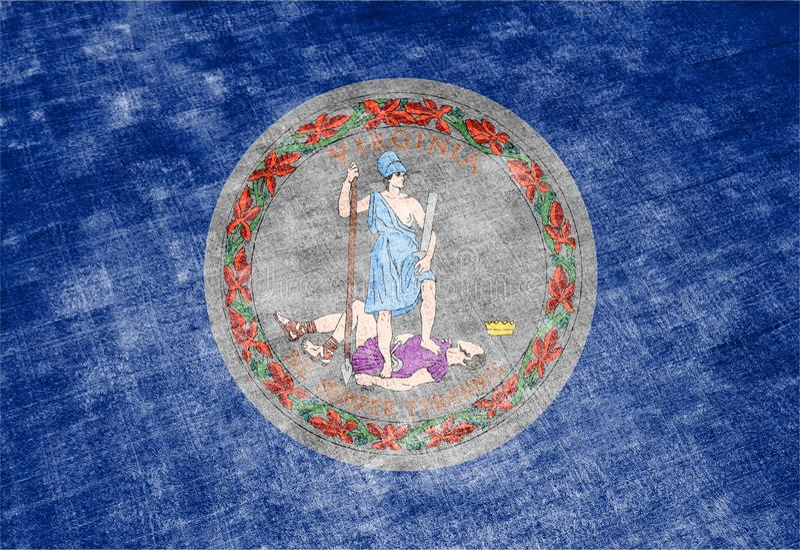 Nationsflaggan av USA-staten Virginia in mot en grå textiltrasa på dagen av självständighet i olika färger av blått vektor illustrationer