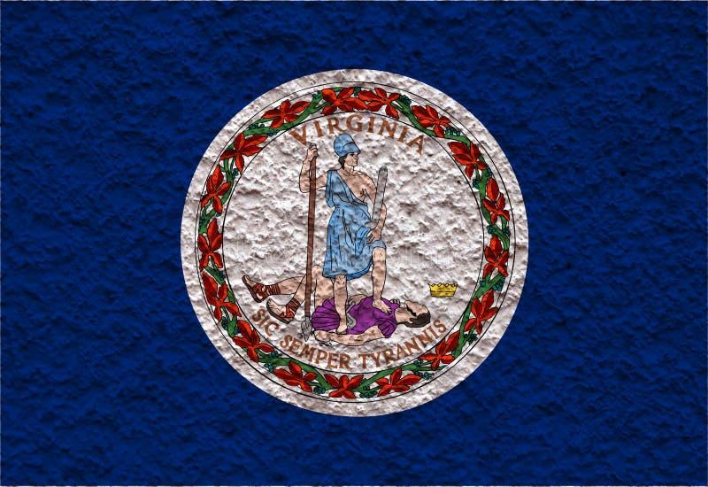 Nationsflaggan av USA-staten Virginia in mot en grå vägg med stenig yttersida på dagen av självständighet i färger av blått royaltyfri illustrationer