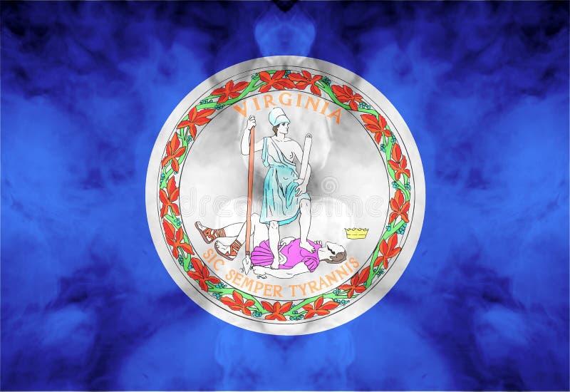 Nationsflaggan av USA-staten Virginia in mot en gr? r?k p? dagen av sj?lvst?ndighet i olika f?rger av bl?tt r?tt och stock illustrationer