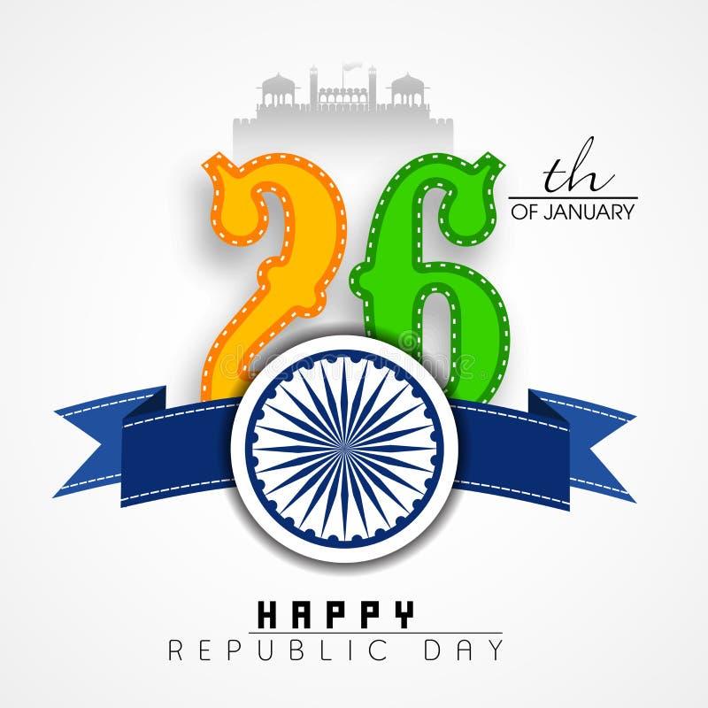 Nationsflaggan färgar med det Ashoka hjulet för lycklig indisk republikdag royaltyfri illustrationer