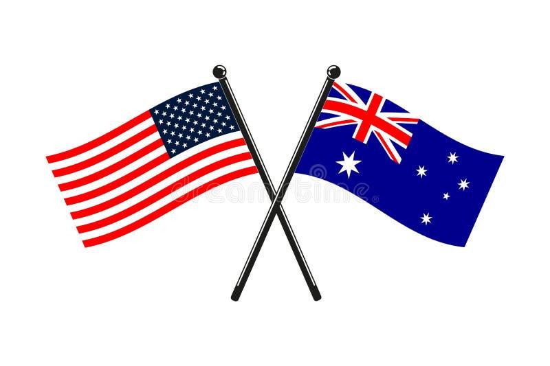Nationsflaggor av Australien och USA korsade på pinnarna vektor illustrationer