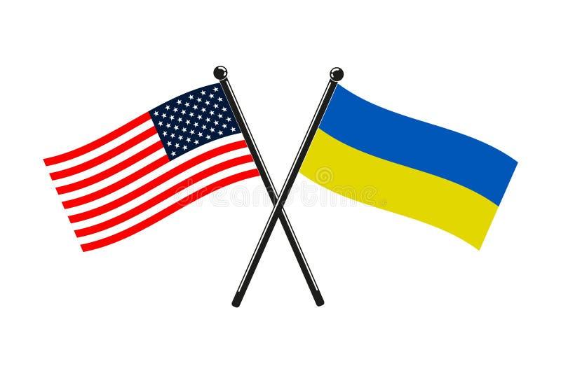Nationsflaggor av Ukraina och USA korsade på pinnarna royaltyfri illustrationer