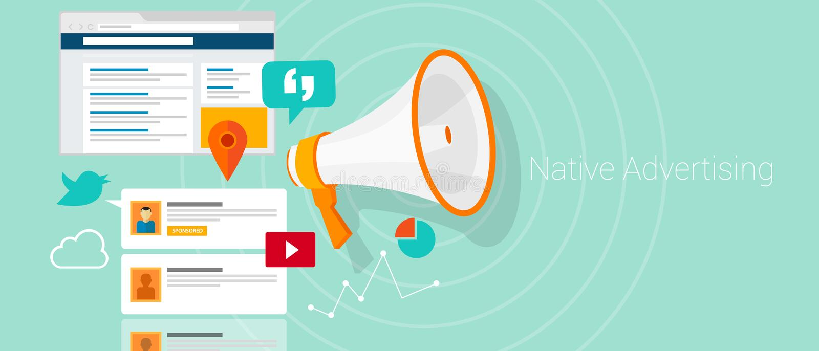 Native advertising contextual. Native advertising as kind of marketing integrated into content such as advertorial or social media timeline and blog post stock illustration