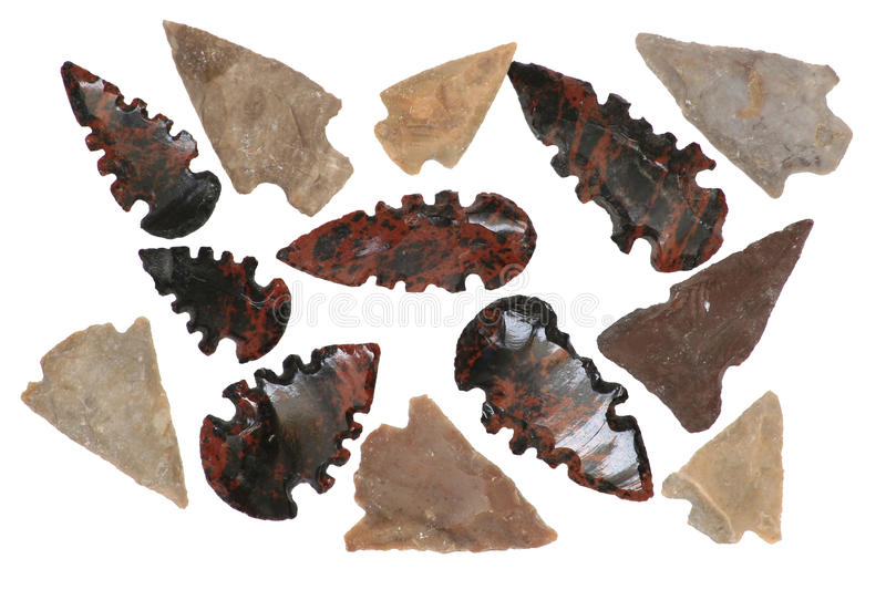 Native American Arrowheads stock images