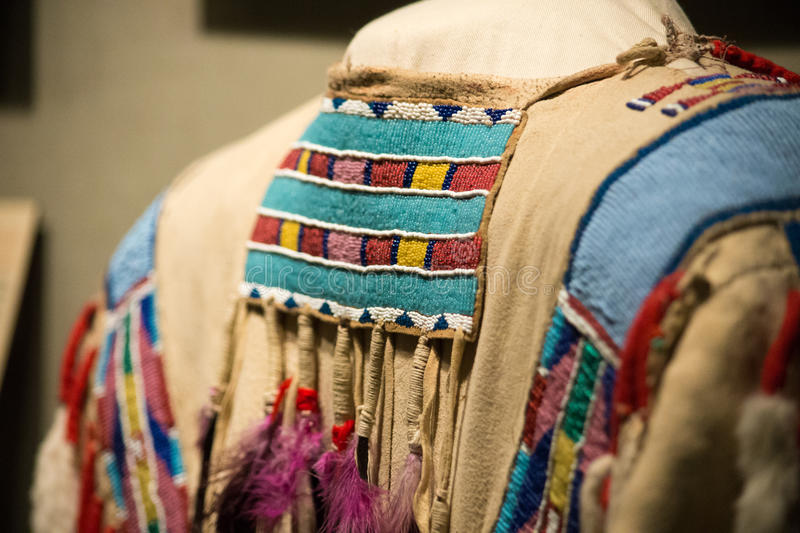 Native american beadwork. A native american article of clothing with extensive beadwork stock images