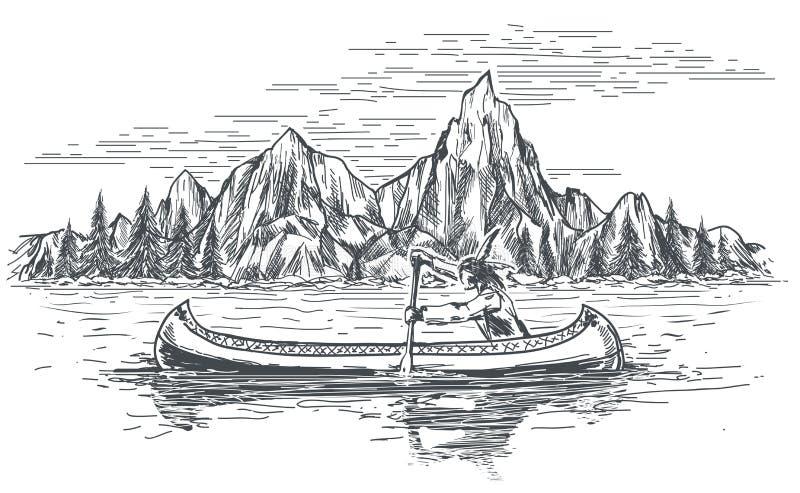 Native american in canoe boat stock illustration