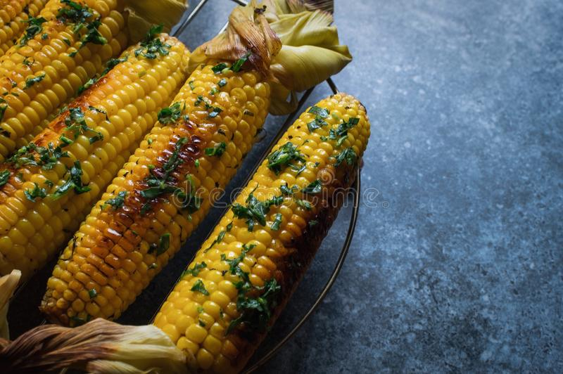 Native American cuisine, roasted corncobs with green herbs and sauce on blue marble background, close-up. Grilled corn, healthy ea stock image
