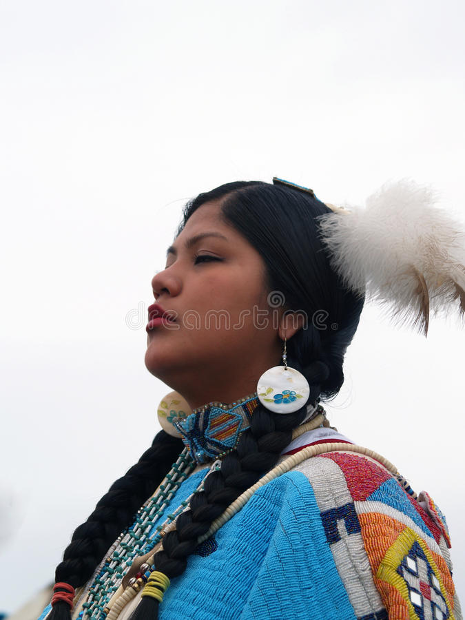 Native American Dancer #4. This image of the Native American woman in ceremonial dress was taken on the Blackfeet Indian reservation in Browning, Montana stock photo
