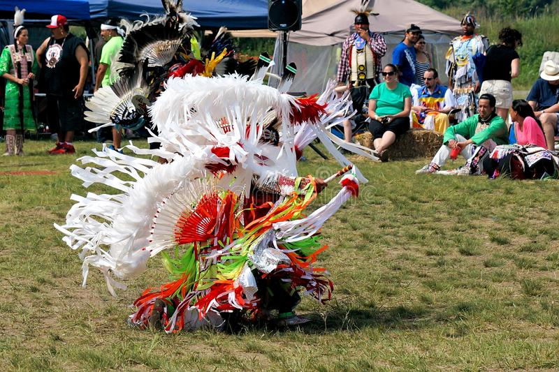 Native American Dancer. Native American performing a Fancy Dance during the Gateway to Nations Pow Wow, Brooklyn, New York June 8, 2014 royalty free stock photography