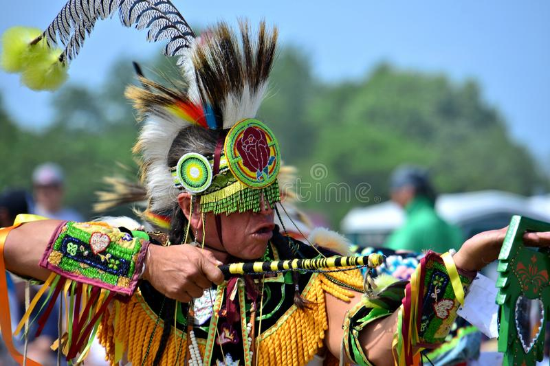 Native American Dancer. Performing during the Gateway to Nations Pow Wow, Brooklyn, New York June 8, 2014 stock image