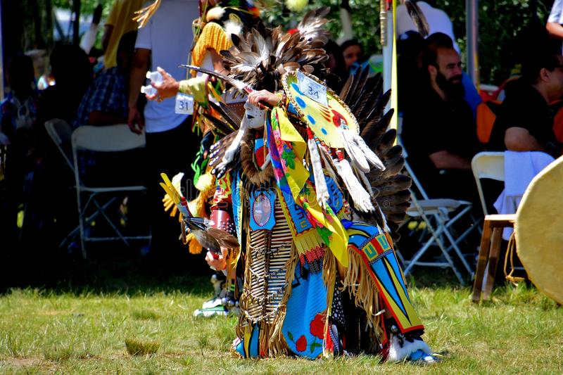 Native American Dancer. Native American performing a traditional dance during the Gateway to Nations Pow Wow, Brooklyn, New York June 8, 2014 royalty free stock photo