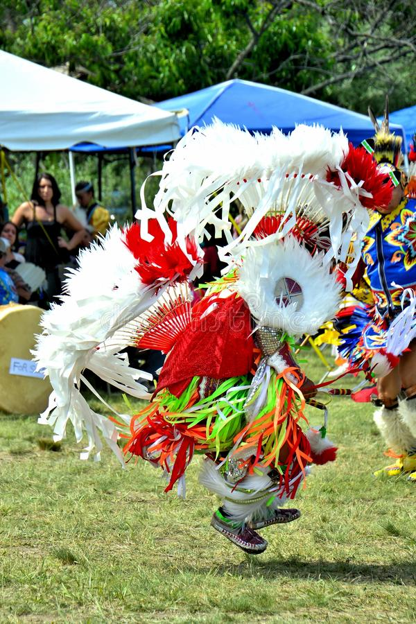 Native American Dancer. Native American performing a traditional dance during the Gateway to Nations Pow Wow, Brooklyn, New York June 8, 2014 stock images