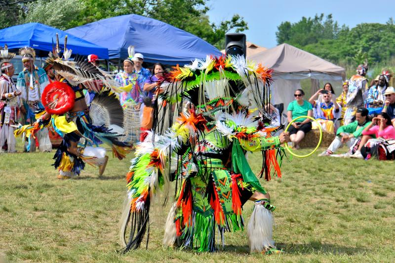 Native American Dancer. Native American performing a traditional dance during the Gateway to Nations Pow Wow, Brooklyn, New York June 8, 2014 royalty free stock photography