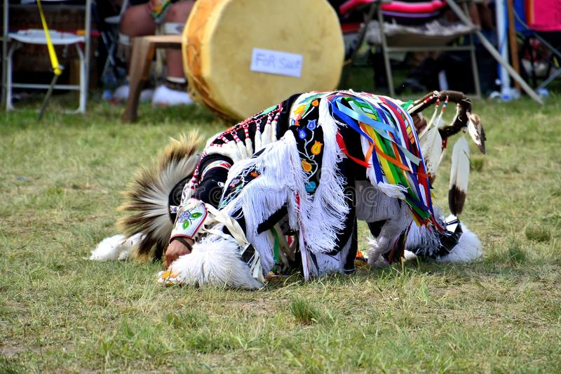 Native American Dancer. Native American performing a traditional dance during the Gateway to Nations Pow Wow, Brooklyn, New York June 8, 2014 royalty free stock image