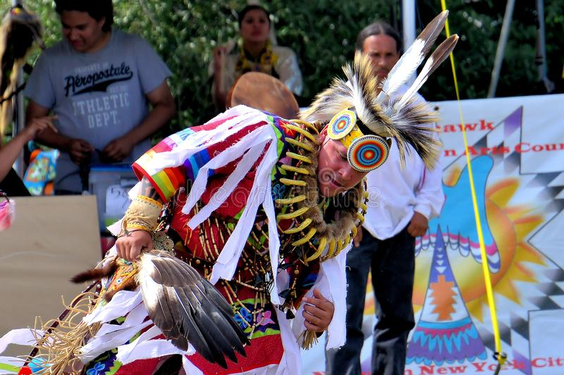 Native American dancers. Native American dancer performing during the Gateway to Nations Pow Wow, Brooklyn, New York June 8, 2014 royalty free stock image