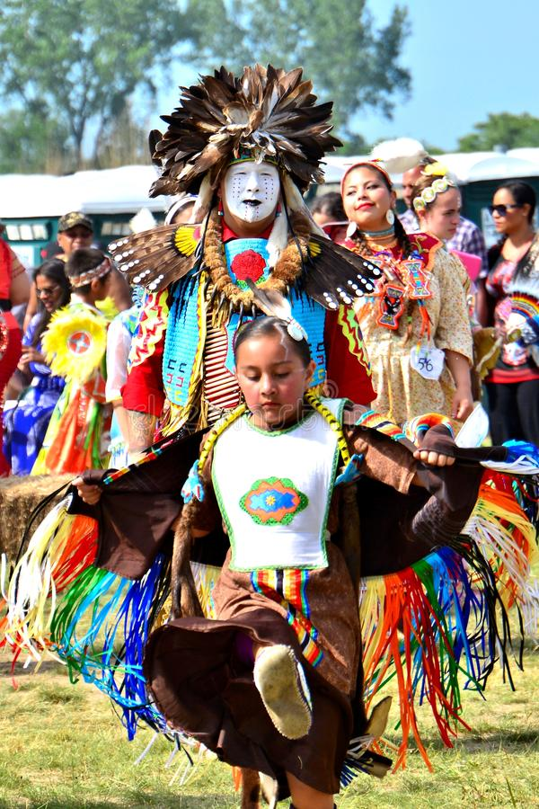 Native American dancers. Native American young girl performing during the Gateway to Nations Pow Wow, Brooklyn, New York June 8, 2014 stock photo