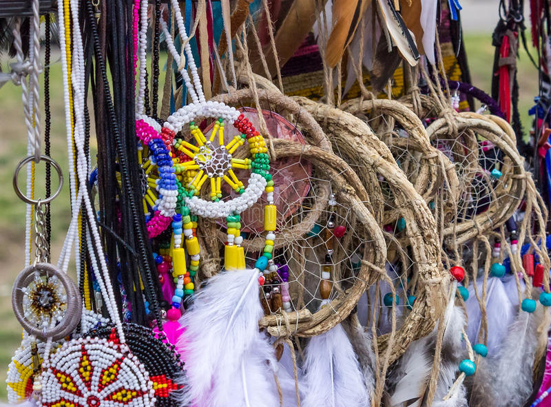 Native American dream catchers. Background with traditional Native American dreams catchers royalty free stock images
