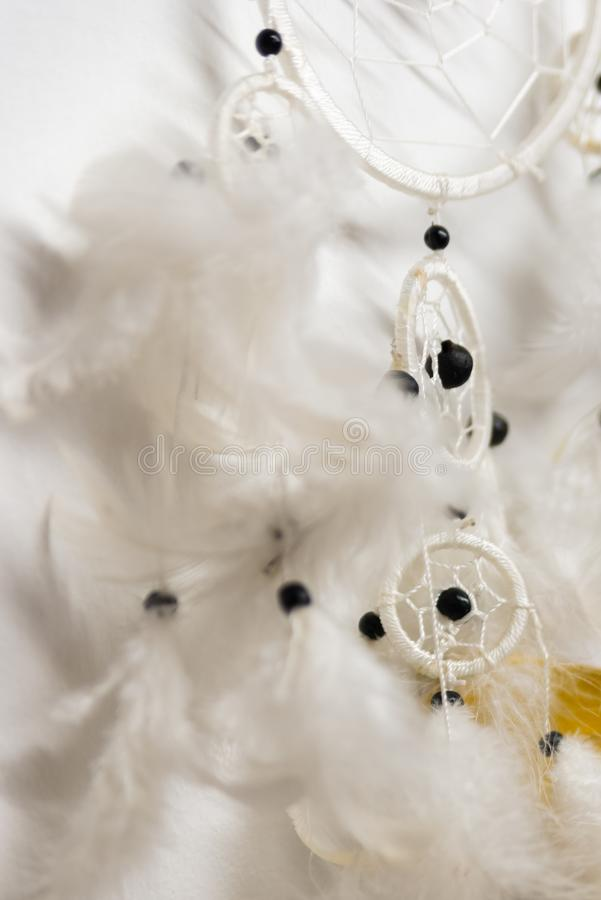 Native American Dreamcatcher. With a white feathers stock image