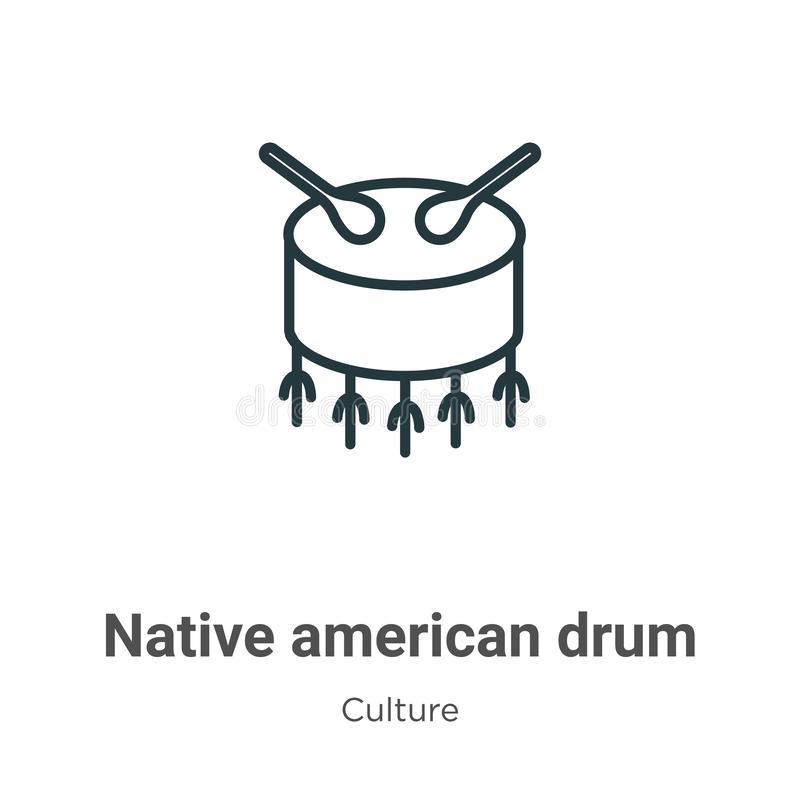 Native american drum outline vector icon. Thin line black native american drum icon, flat vector simple element illustration from vector illustration
