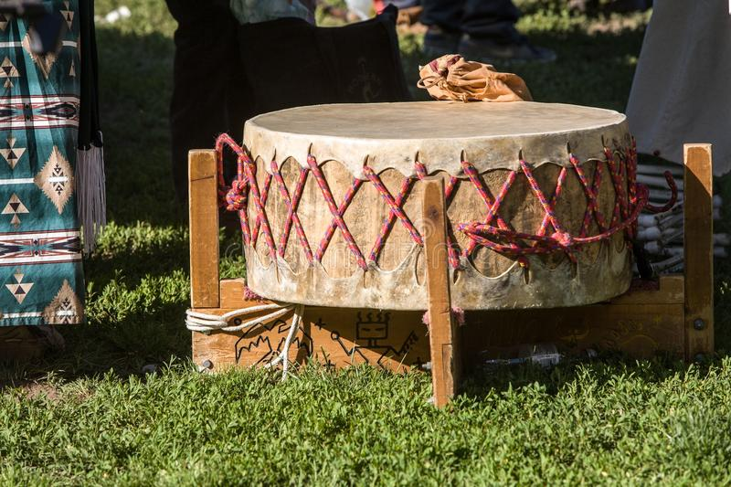 Native American Drum. This is a picture of a Native American Indian drum taken at a Pow Wow at Inwood Park, NYC royalty free stock image