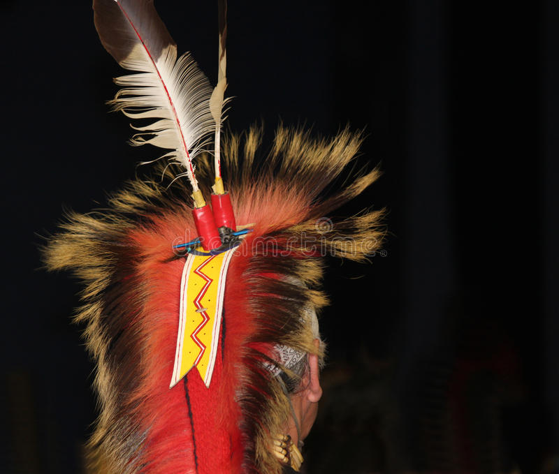 Native American Feathered Headdress at Powwow royalty free stock images