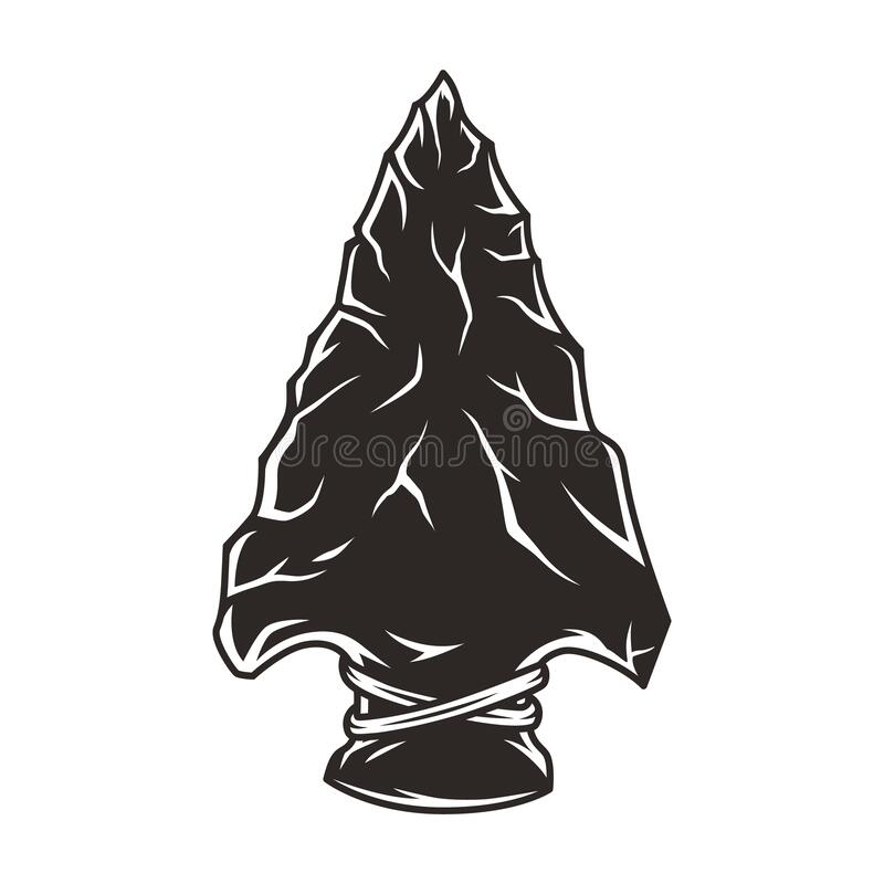 Native american flint arrowhead vintage concept. In monochrome style isolated vector illustration vector illustration