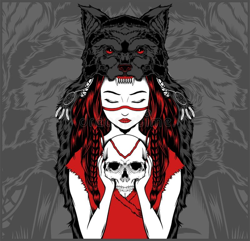 Native American girl with Wolf headdress handling skull -vector vector illustration