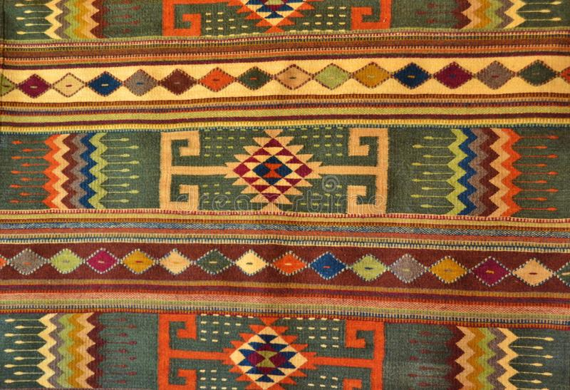 NATIVE AMERICAN HAND MADE WOVEN RUG. This was a colorful Southwest woven rug with a classic Native American and Southwest design. I found this at an outside royalty free stock image
