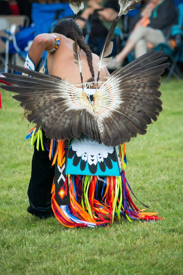 Native American head dress and clothing a Pow Wow royalty free stock photos