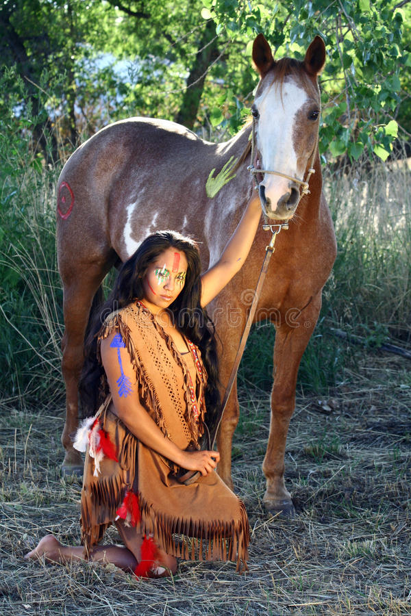 Download Native American And Her Horse Stock Image - Image: 21233939