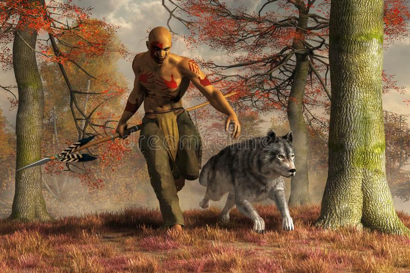 Native American Hunter and Wolf royalty free illustration