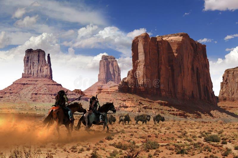 Native american hunting buffalo royalty free illustration