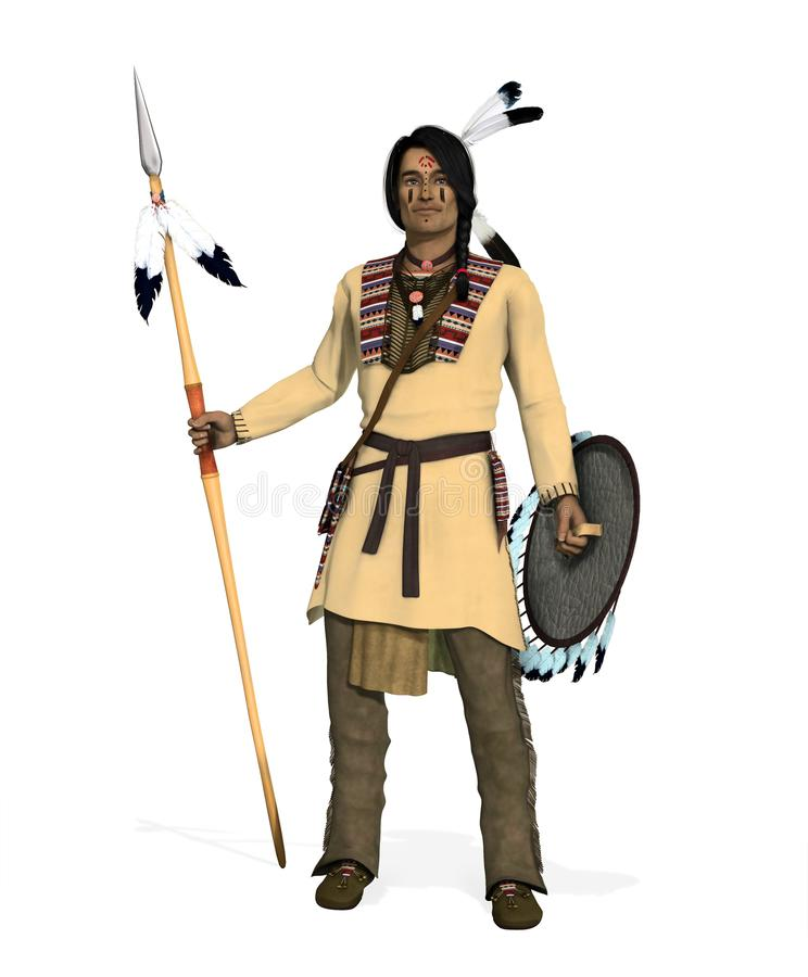 Native American Indian Cheyenne Warrior royalty free illustration