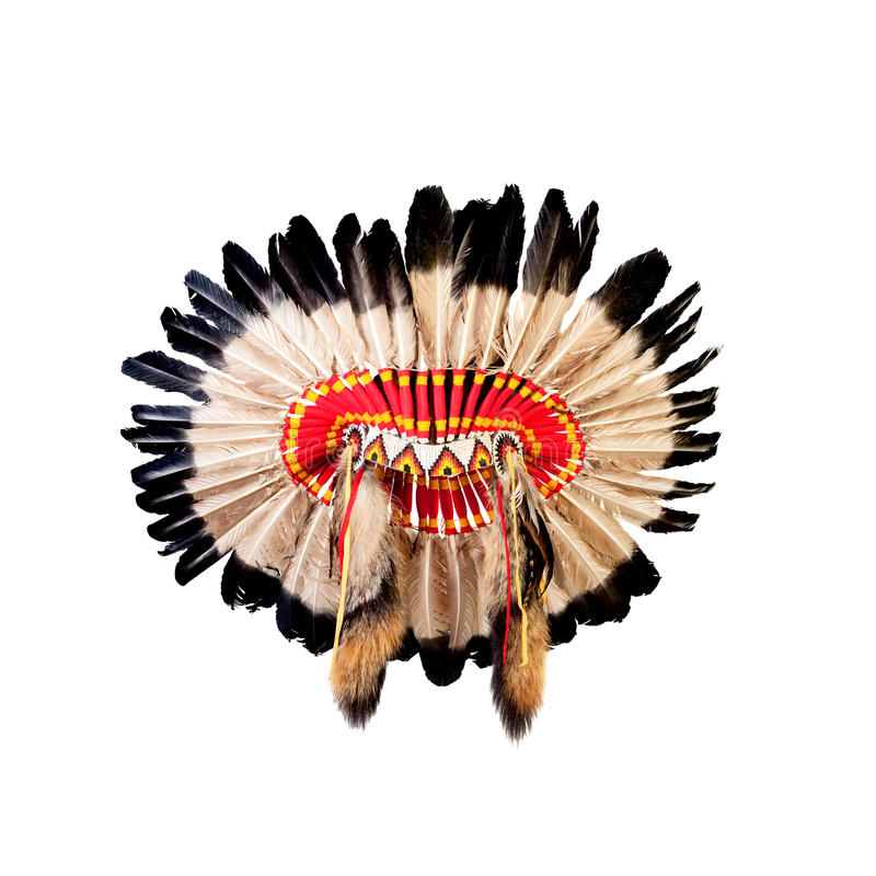 Native american indian chief headdress. (indian chief mascot, indian tribal headdress, indian headdress royalty free stock photos