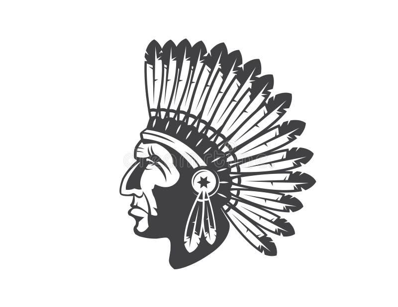 Native american indian chief headdress royalty free illustration
