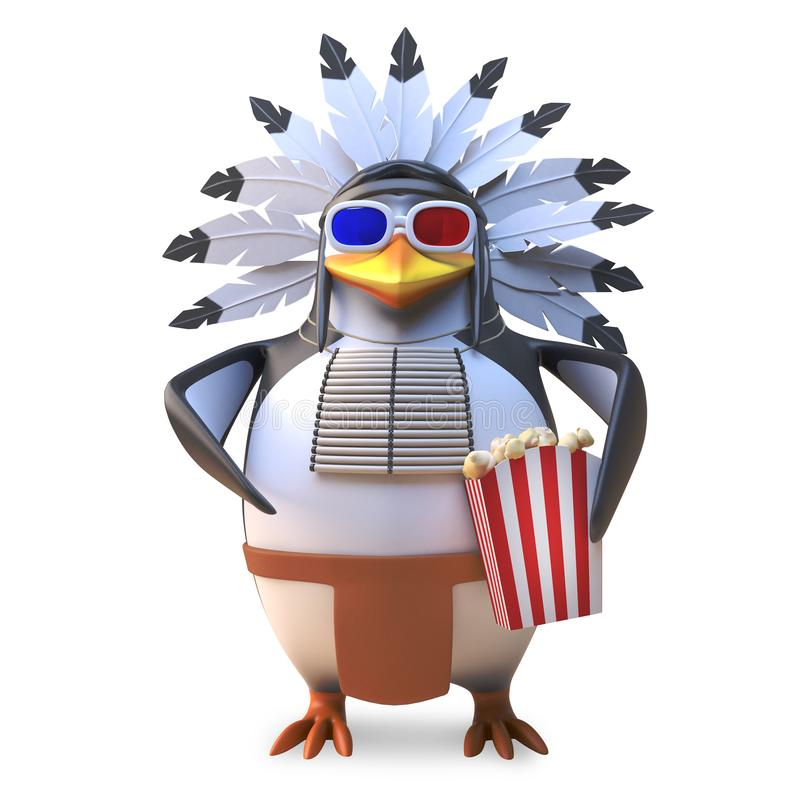 Native American Indian chief penguin eats popcorn while watching a 3d movie, 3d illustration vector illustration