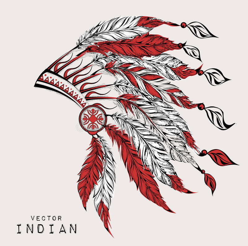Native American Indian chief. Red and black roach. Indian feather headdress of eagle. stock illustration