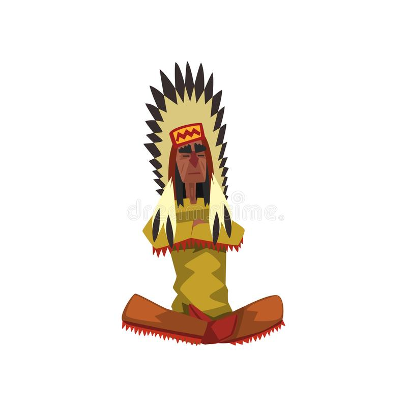 Native American Indian chief in traditional clothing sitting in lotus position vector Illustration on a white background vector illustration