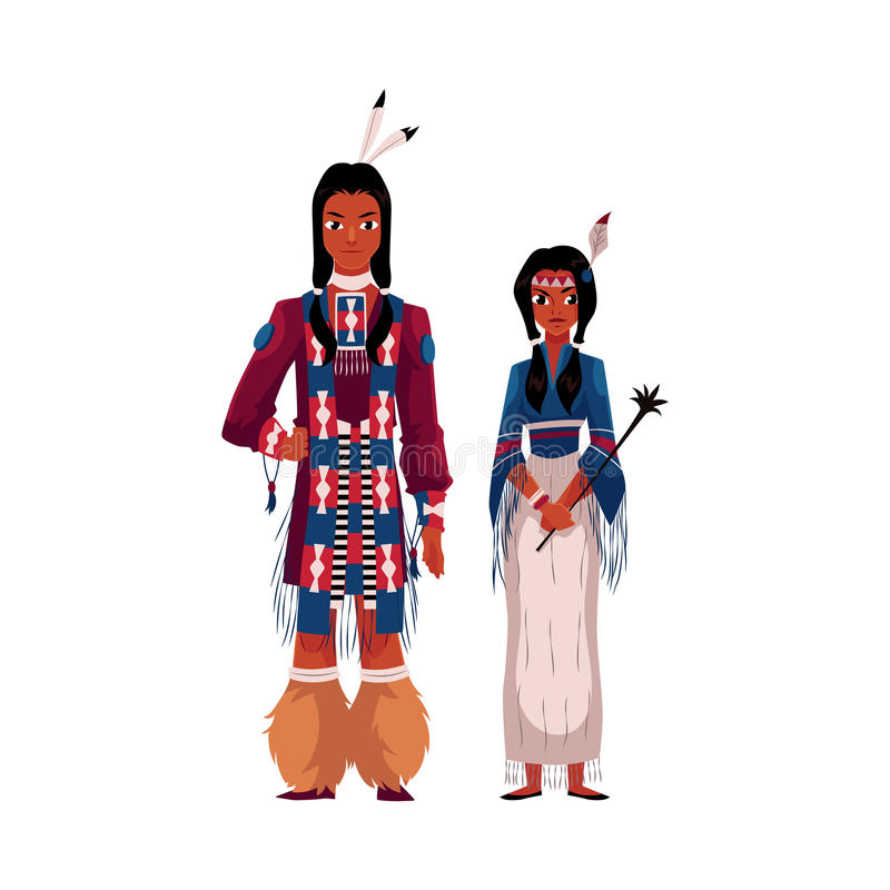 Native American Indian couple in traditional national clothes, fringed shirts royalty free illustration