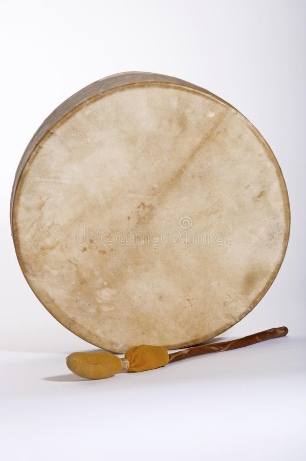 Native American Indian Deerskin Drum and Drumstick royalty free stock images